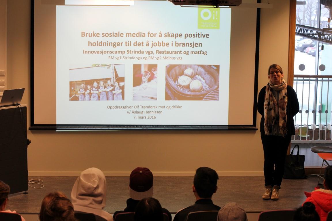 Oppdragsgiver OI Trøndersk mat og drikke as ved Åslaug Hennissen, presenterer oppdraget.