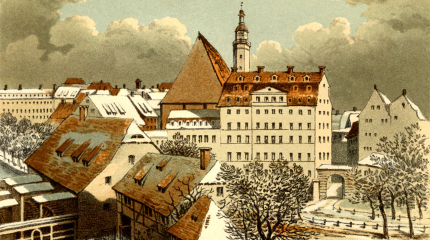 Mendelssohns Skizze von der Thomasschule in Leipzig, an welcher Bach als Kantor wirkte.    http://www.bbc.co.uk/composers/mendelssohn/pictures/12/