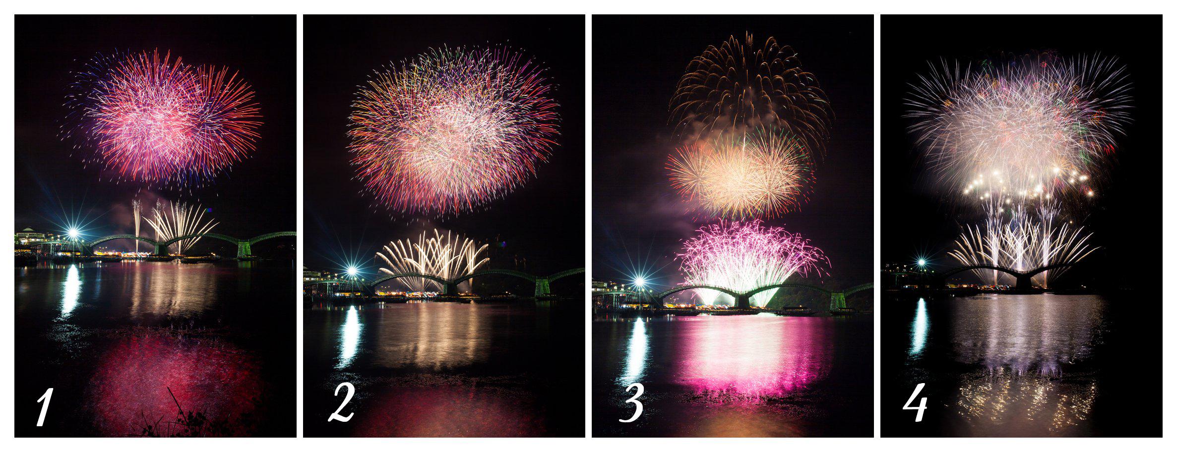 fireworks kintai bridge japan
