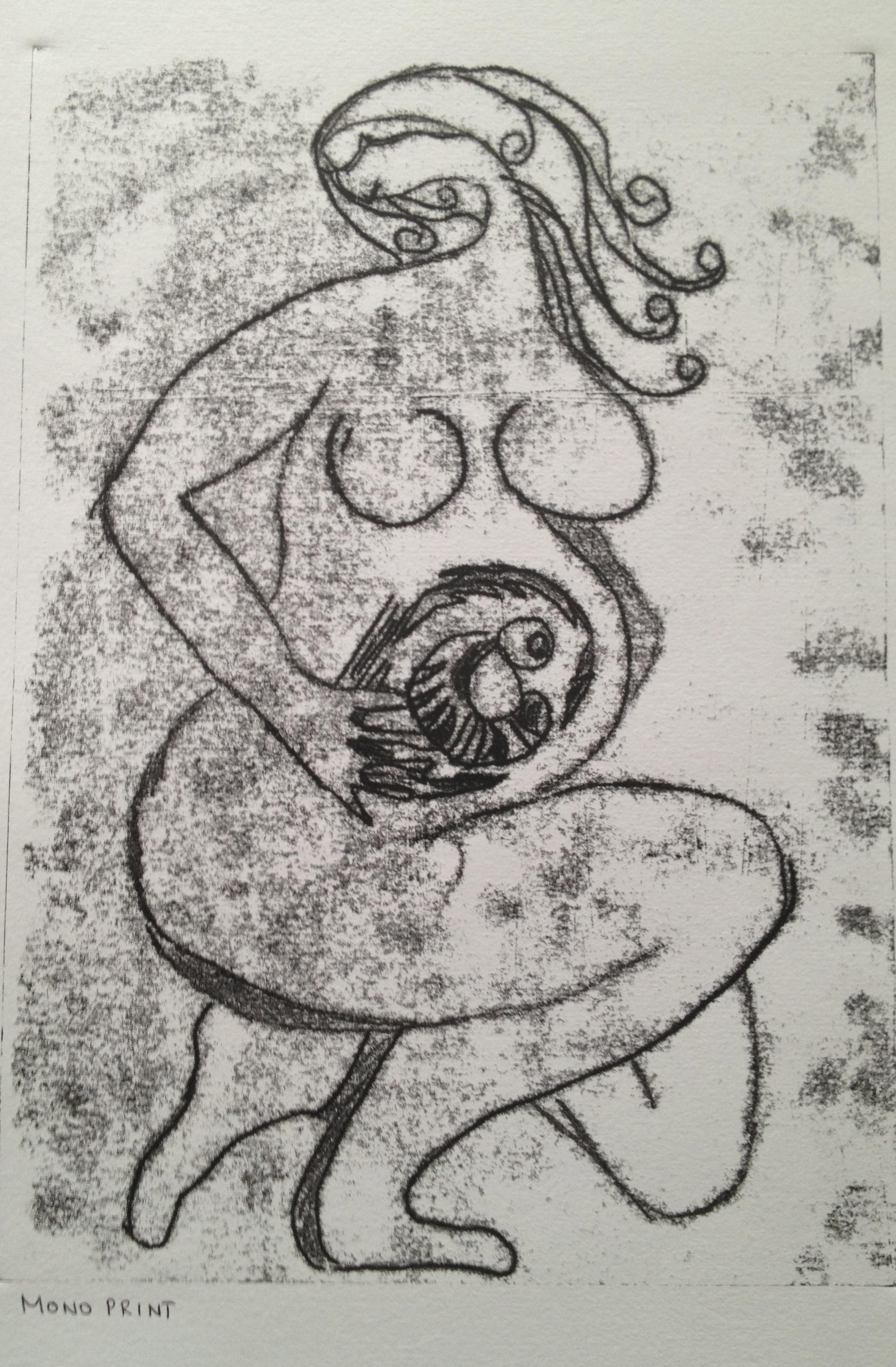 Untitled Monoprint 42 x 59.4 cms 2013