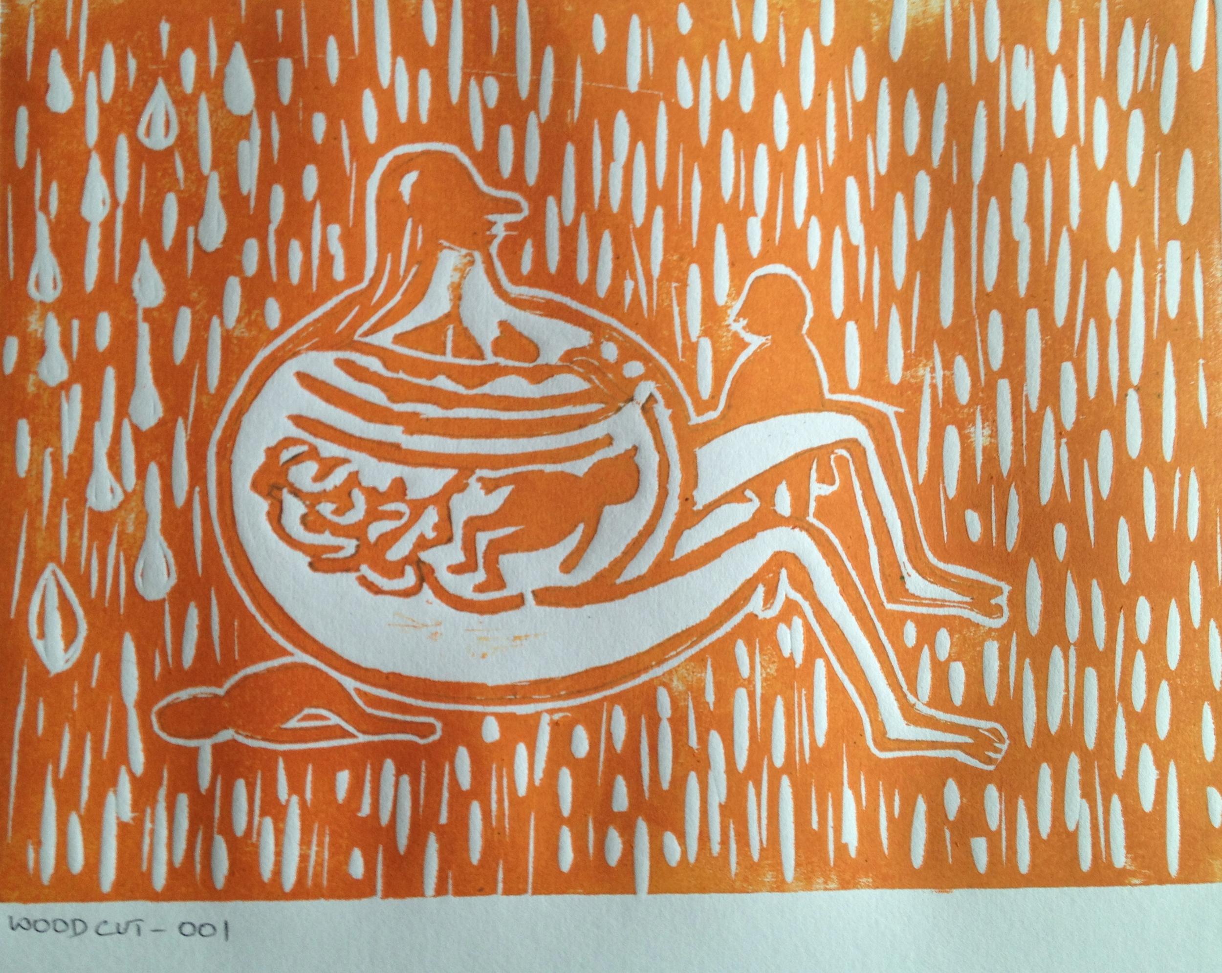 Untitled Wood Cut on Paper 42 x 59.4 cms 2013