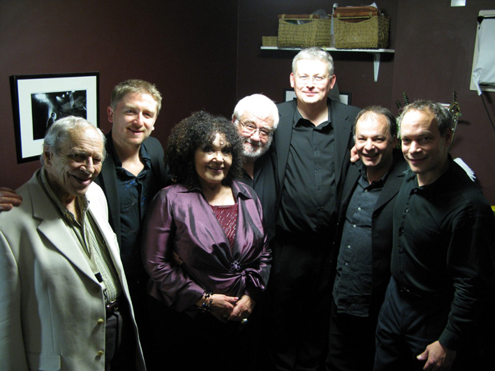 l-r John Dankworth, CG, Cleo Laine, John Horler, Mark Nightingale, Ralph Salmins, Alec Dankworth. Ronnie Scott's 2008
