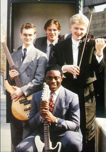 'Nobody's Quartet' l-r Jon Noyce, James Pearson, Allan Simpson, CG. London 1989
