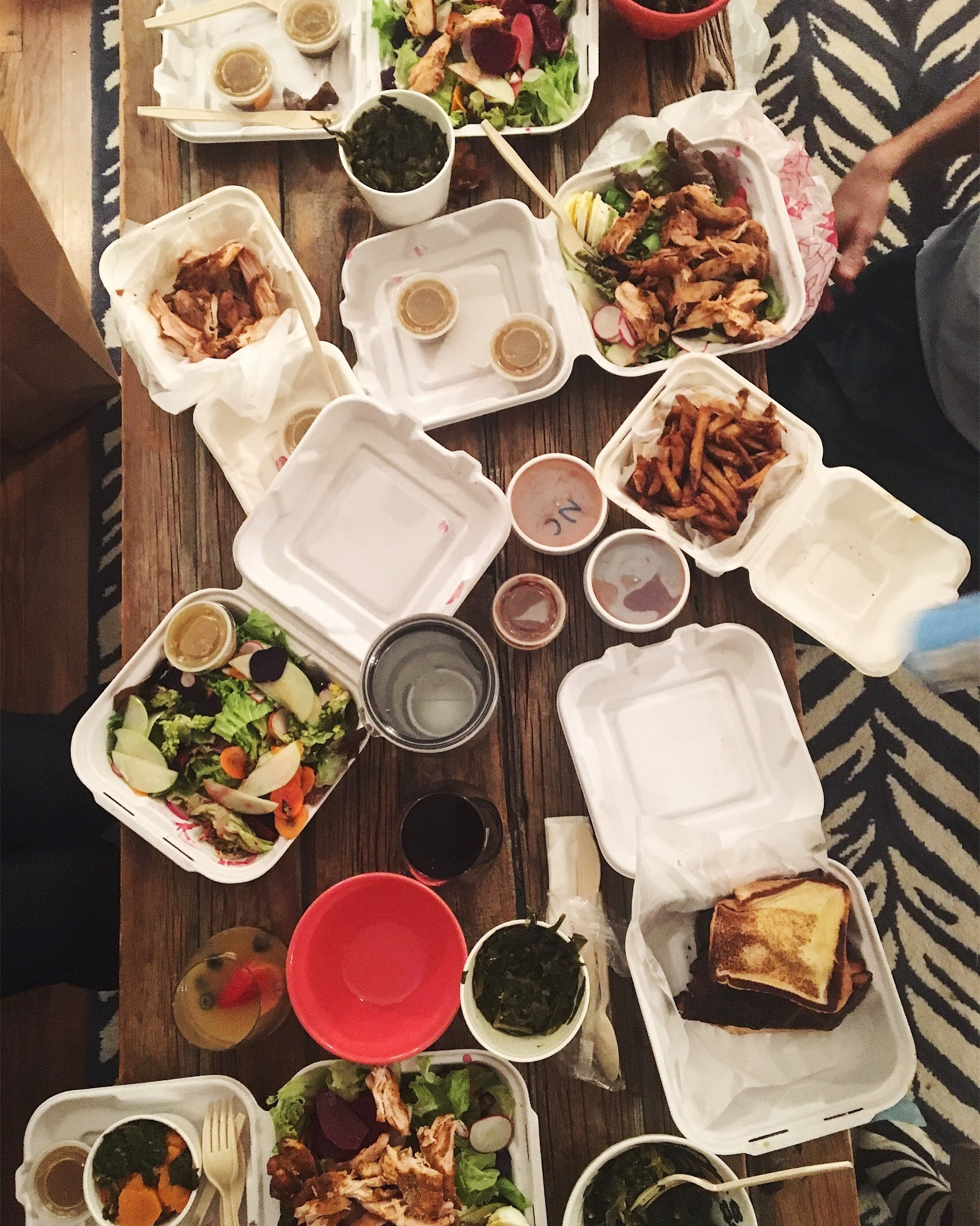 Our favorite way to dine as a family: Carry out! Community Q = such good ATL BBQ.