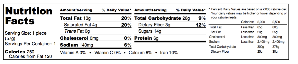 Chocolate Drizzle Nutrition Facts