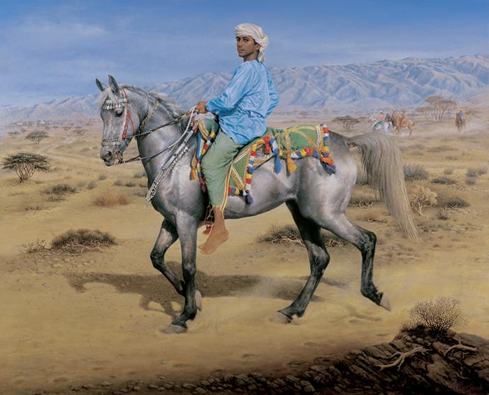 Omani boy riding