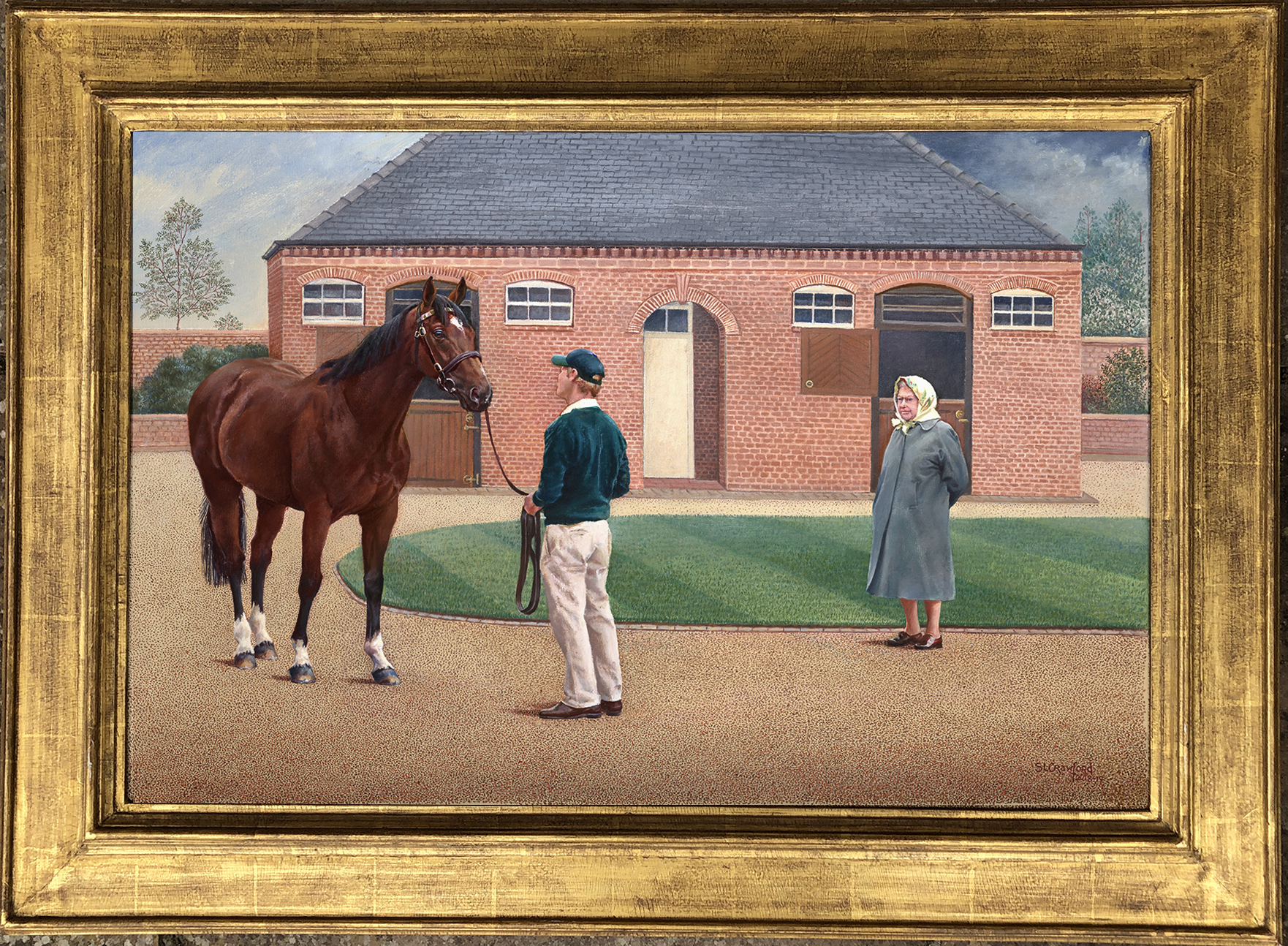 HM the Queen visiting Frankel at Banstead Manor Stud