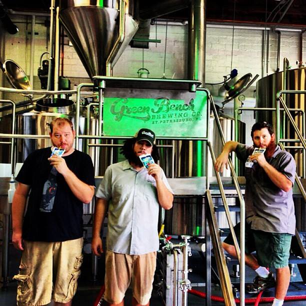 Casey, Khris and Steve enjoy wholesome refreshment after a long brew day.