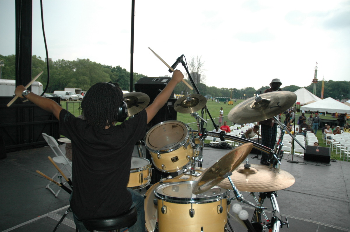 """""""My   sound check at the African American heritage Festival. From my riser I can see the whole park! This was one of my favorite concerts because both of my grandmothers where in the audience."""" """"At night you can't see the audience, you can only feel their energy. Outstanding!"""""""
