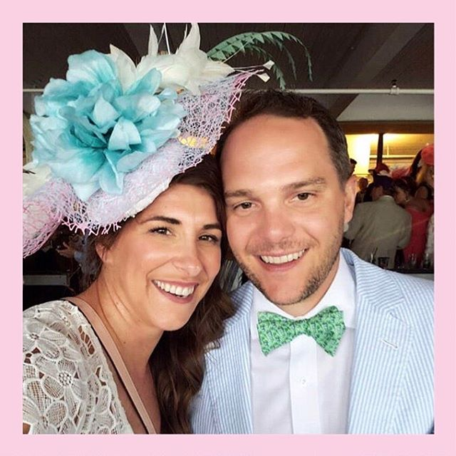 The Queen of Derby @Lou whatwear Rocking Headcandi for @kentuckyderby Race!!!! Matching perfect with Derby Drew's @vineyardvines Derby Pants!!!