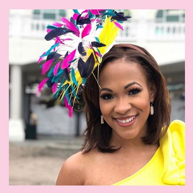 How Fabulous is @kpiercetv!!!! Head on over to @shopthatcutelittleshop to learn how you could own this @headcandi fascinator!!!! #cursadeforchildren #auction #headcandi #shopthatcutelittleshop #derby #oaks