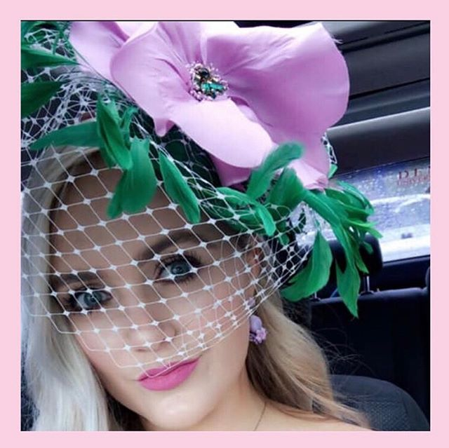 She's not only Slays Derby Day, she Slays E V E R Y D A Y!!!!! {check out our stories to see where this color inspiration came from!!! Hint: one of our favorite bloggers!!} #slayderbyslay #slayeveryday #headcandi #kentuckyderby #blaireadiebee #houseofkboutique #leann #millinery #lilacandgreen #churchill #fashion #style #headcandidoesderby