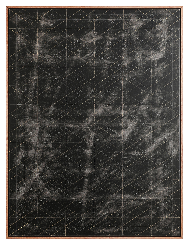 Steven MacIver Linear Extractions Oil and gold leaf on canvas 48 x 36 in.