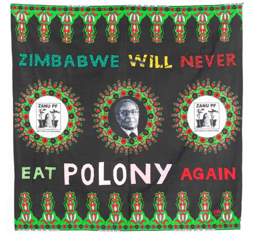 Zimbabwe Will Never Be A Colony Again  (2016) Embroidered Zanu PF textile 1 15 x 117 cm