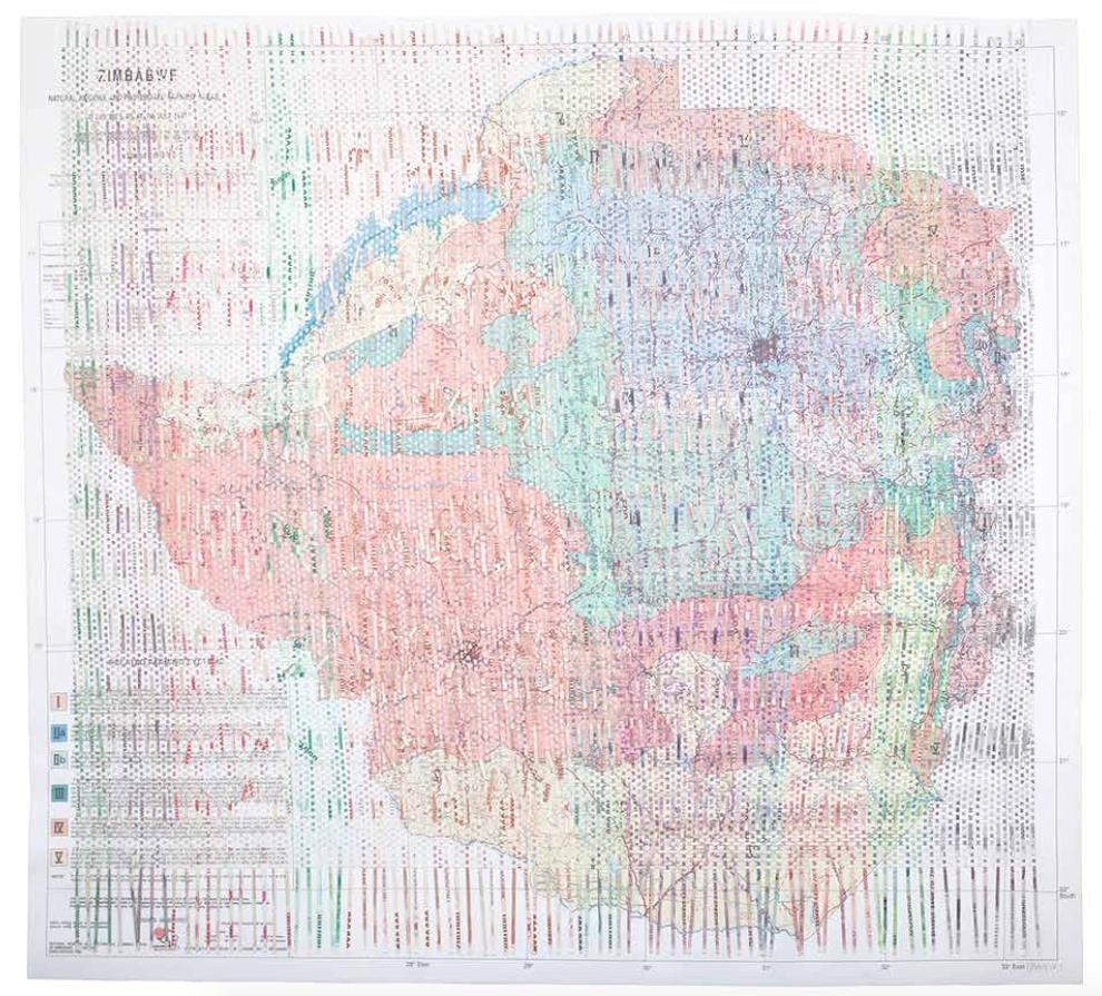 Z$550,809 2017 Map of Zimbabwean farming regions woven with a progression of shredded Zimbabwean bank notes that amount to Z$550,809  82 x 89 cm