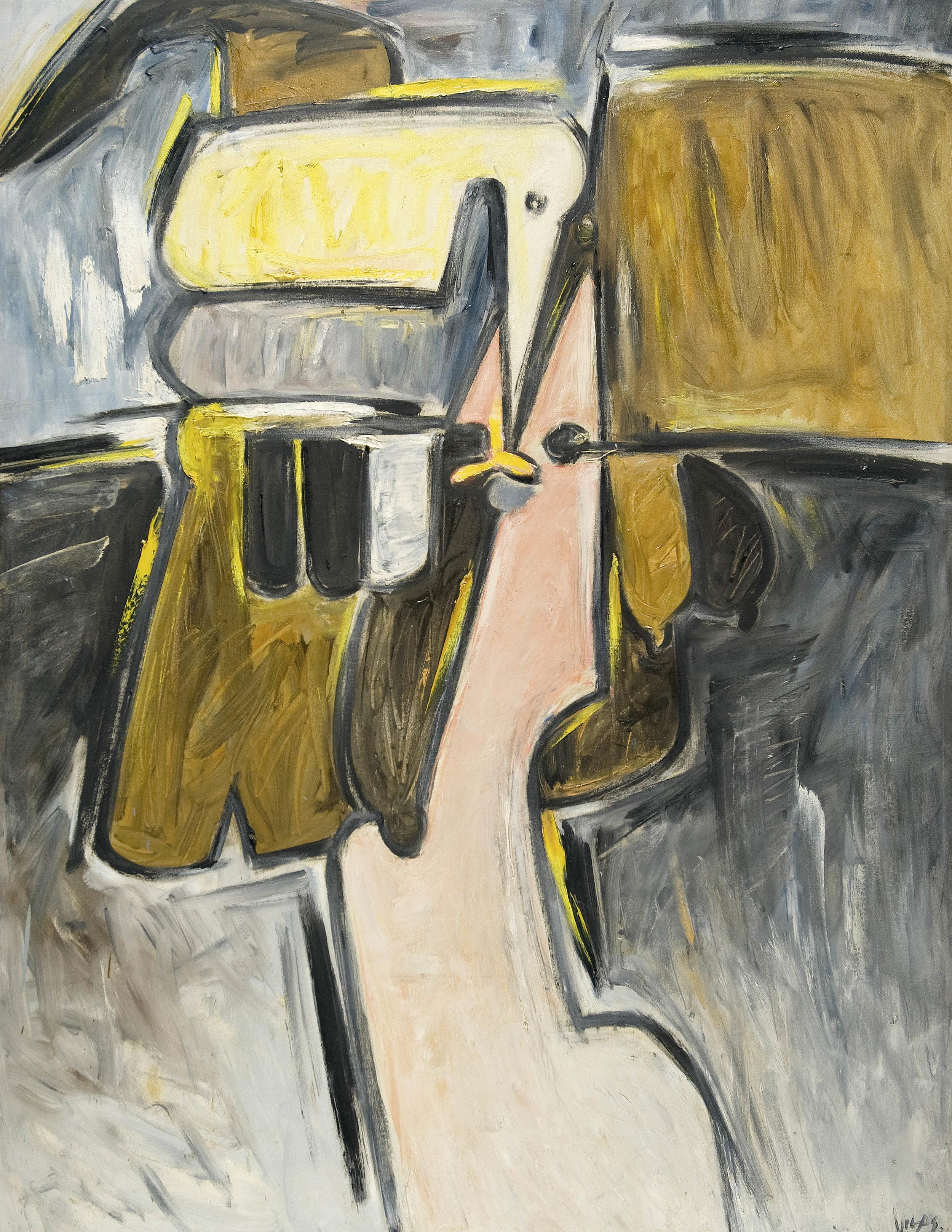 Oswaldo Vigas  Cabeza en Amarillo , 1976 Oil on Canvas 59 x 47 in.