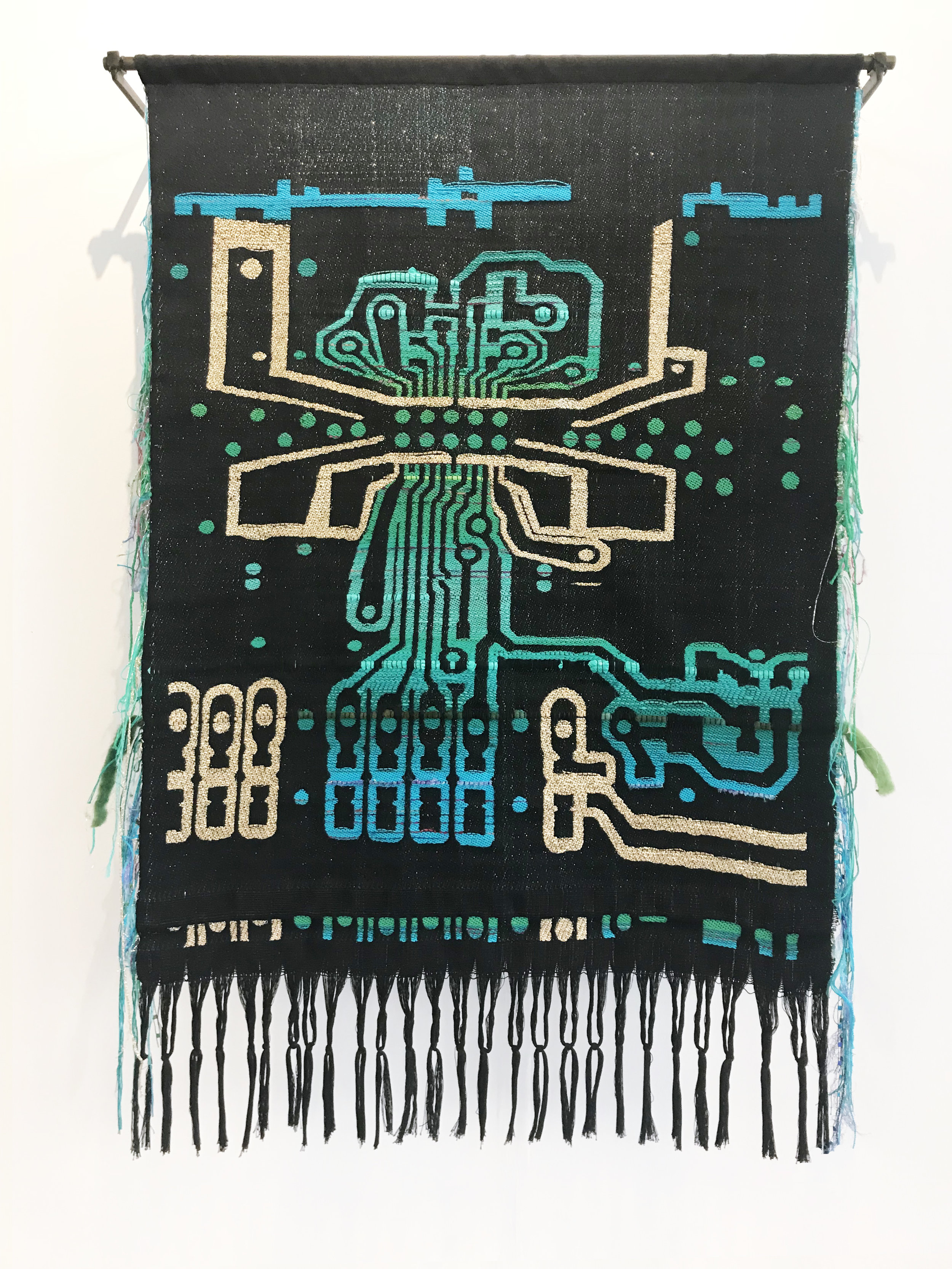 Robin Kang  Corazón Voltage , 2017 Hand Jacquard woven cotte, alpaca, hand dyed wool, kid mohair, silk, plastic bag, metallic and synthetic yarns 42 x 28 in