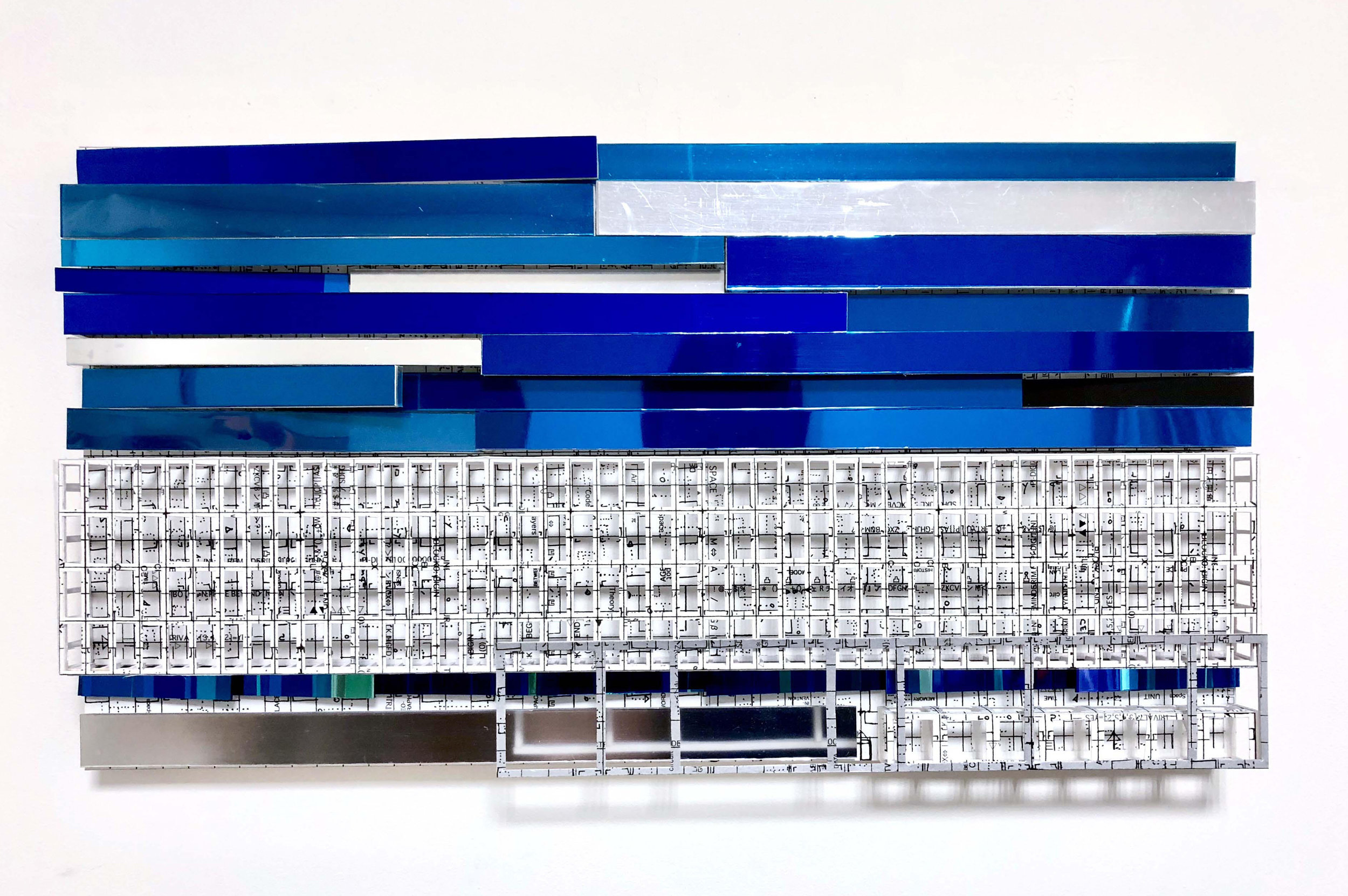 Grid and Blue Bars (2018), Mixed media, 9.5 x 17.8 inches