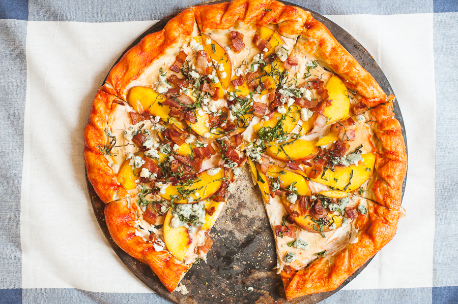 Bacon & Peach Pizza with Sriracha Honey Crust