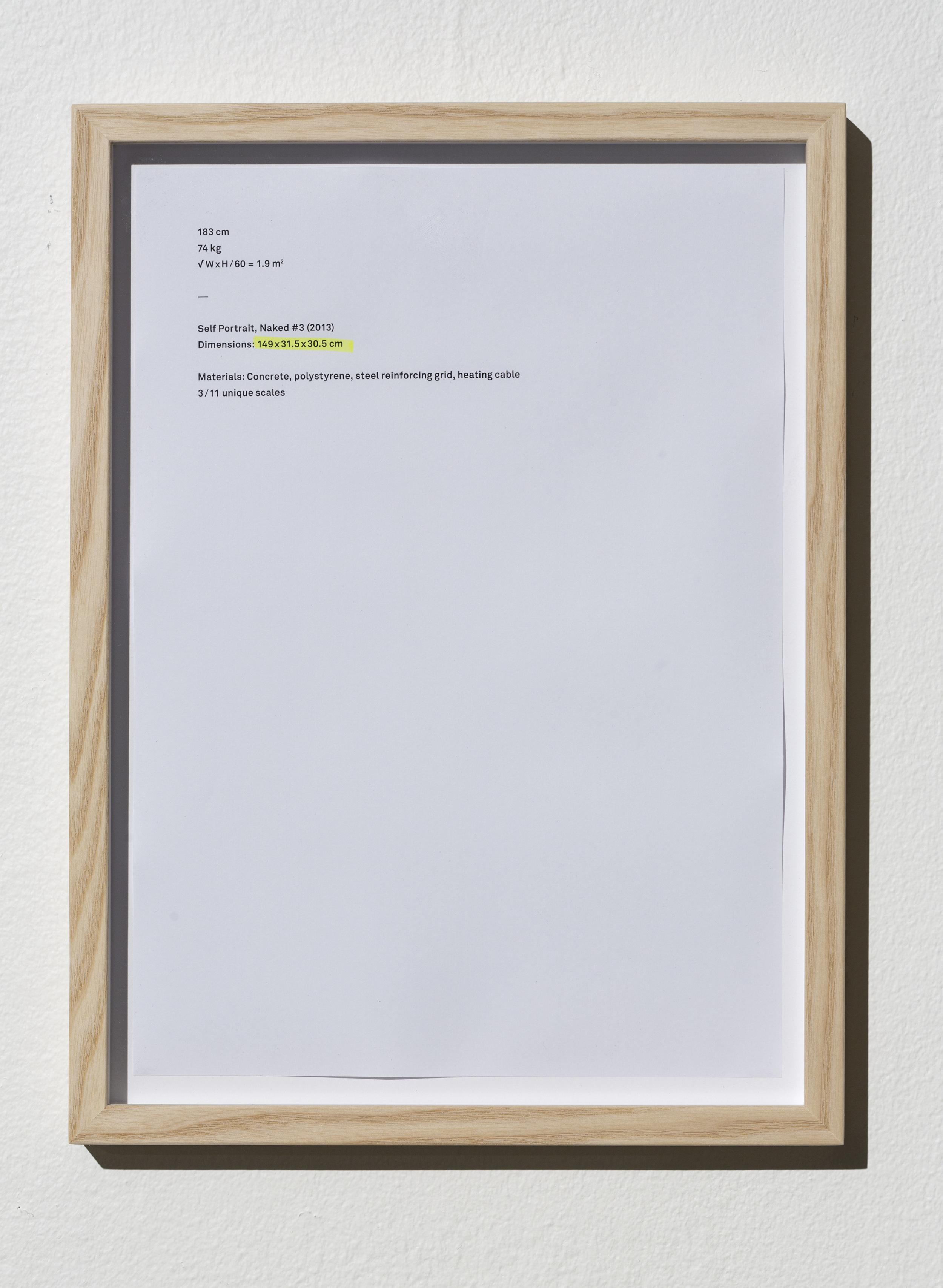 SELF-PORTRAIT, NAKED (Certificats) Dimensions: 29x21 cm (framed print) Materials: Glass, prints, wood.