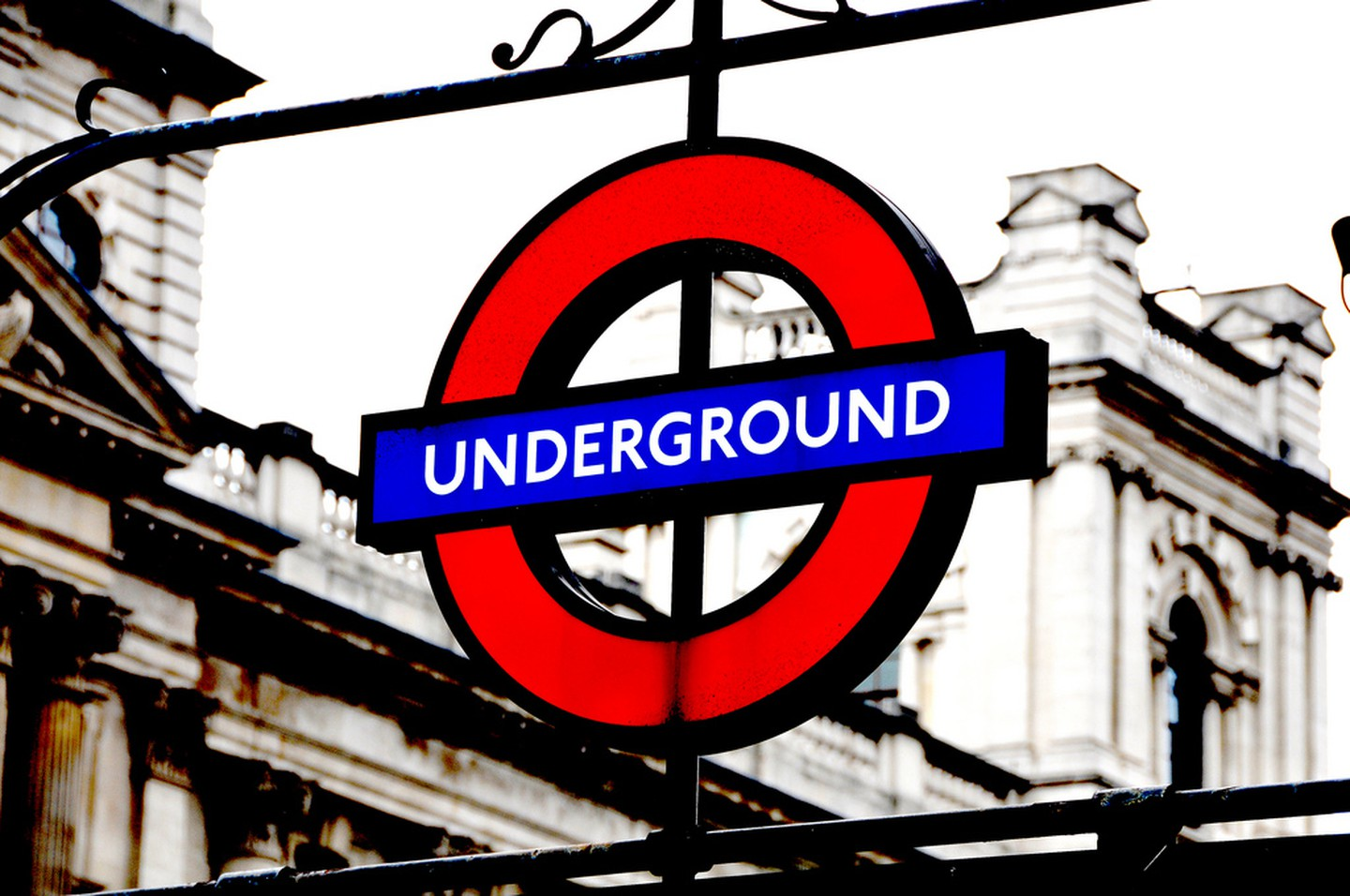 London Underground - Since 1908 the red circle with a blue line through it has been an indication of the entrance into the London underground system. This sign is so internationally recognized, that you can even buy signs from various stations from the Transport for London online shop.
