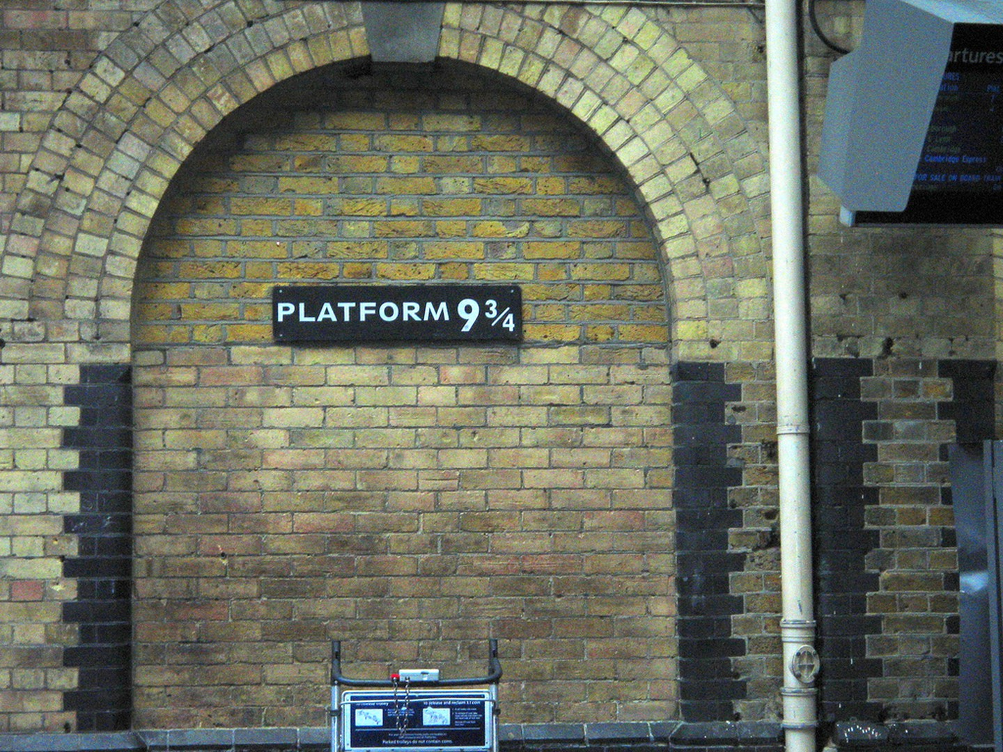 Platform 9 3/4 - Last call for all of those aboard train departing from Platform 9 3/4! Out of all the signs included in this list, this sign must be one of the most interesting considering it doesn't point to anything. The sign signifies the fictional Hogwarts School of Witchcraft and Wizardry from the film Harry Potter.