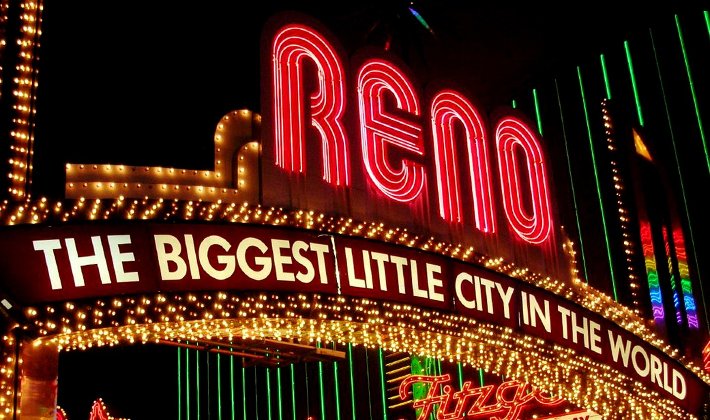 """The biggest little city in the world"" - Also located in Nevada, the Reno Arch is iconic, and has been famous for its casinos since 1926."