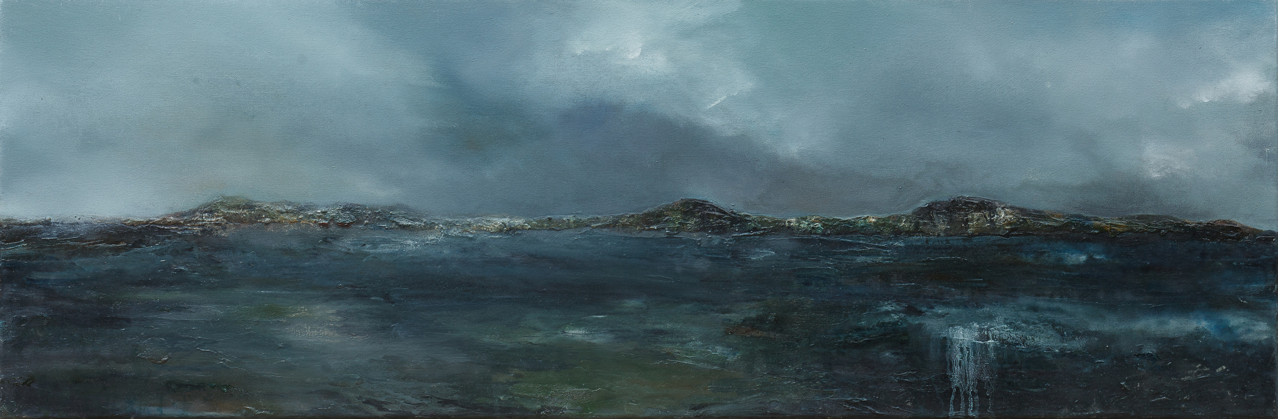 At the sight of the waters Oil and mixed media on canvas 40x120cm
