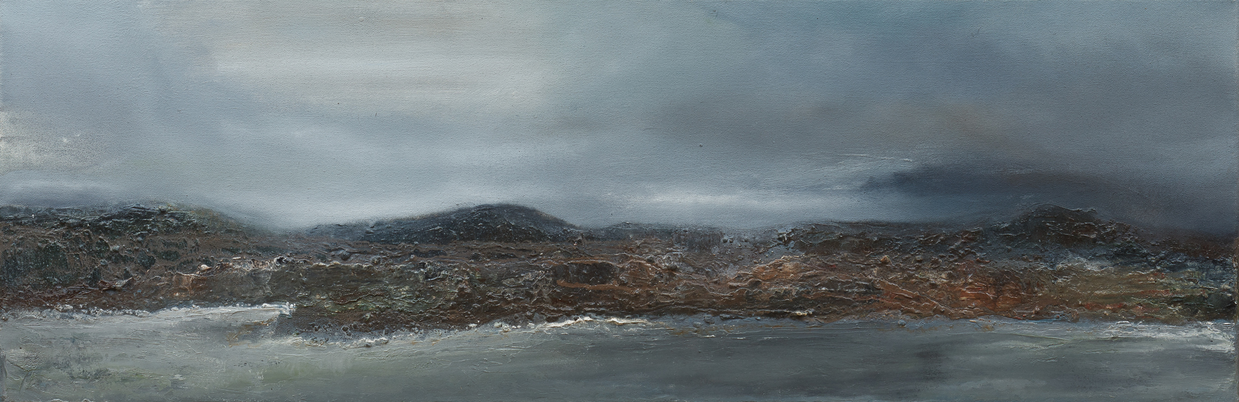 Travelling amidst islands Oil and mixed media on canvas 30x90cm