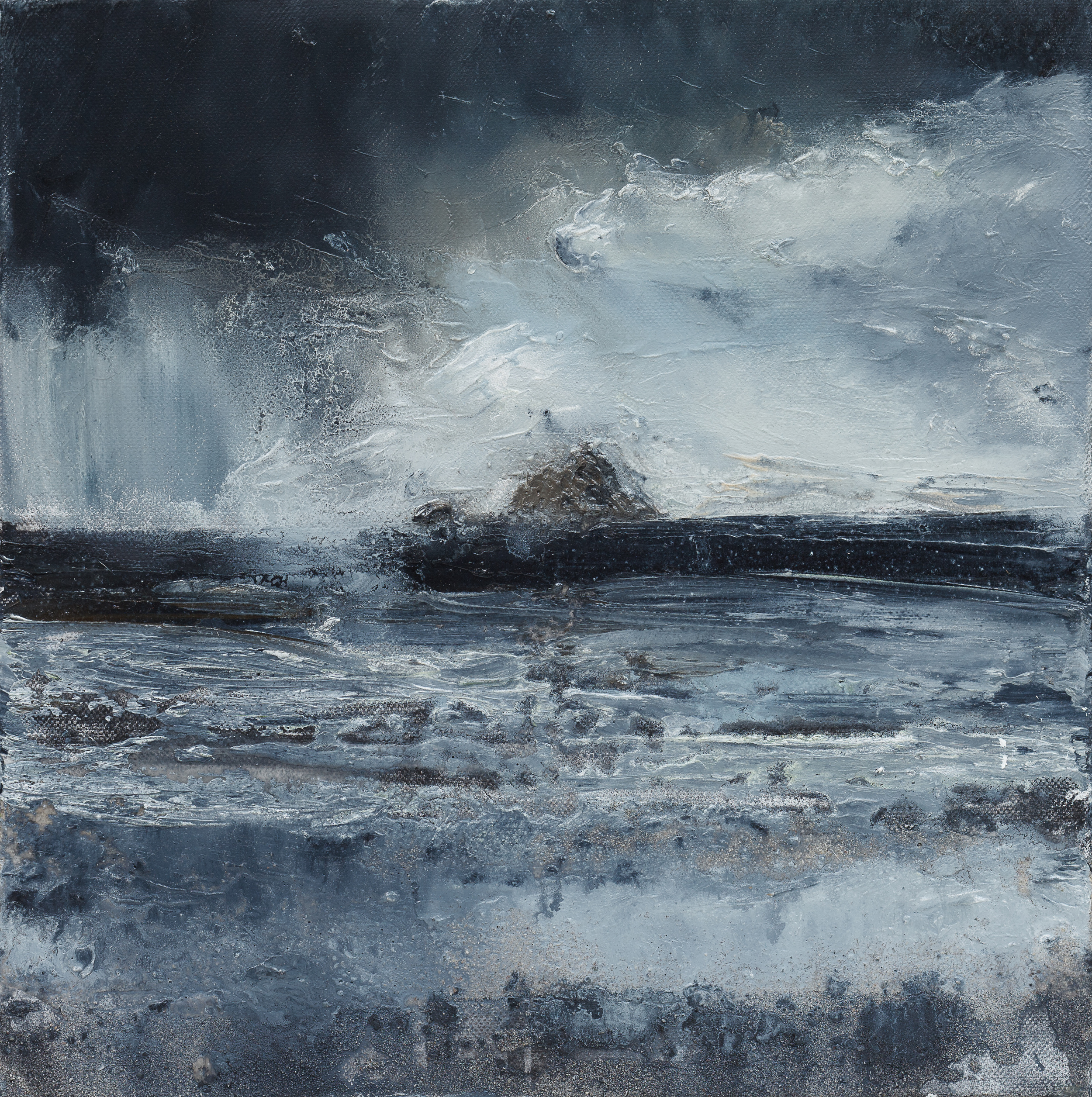 Darkly speaking Oil and mixed media on canvas 30x30cm