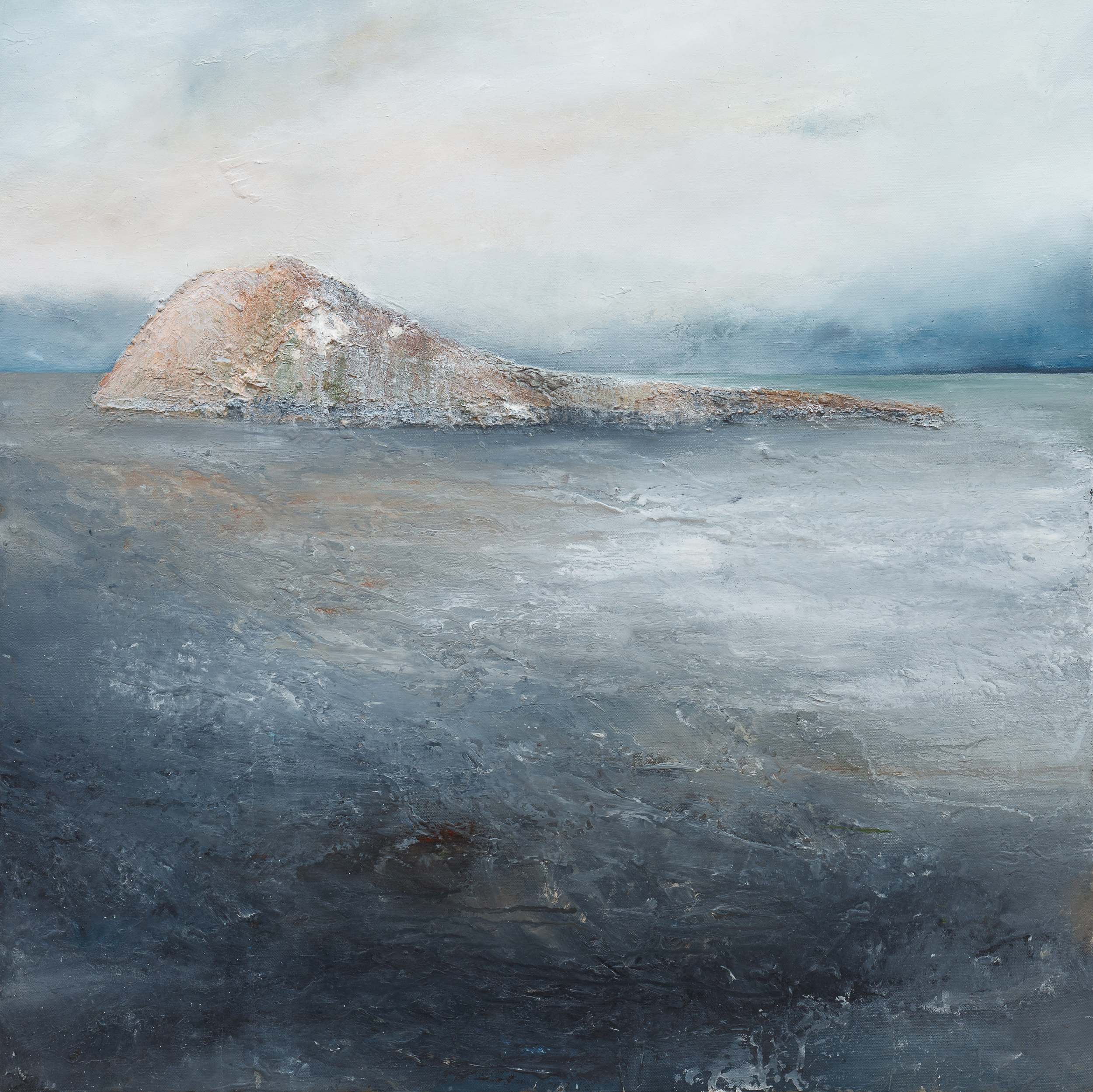 At the approaches of the dawn Oil and mixed media on canvas 70x70cm