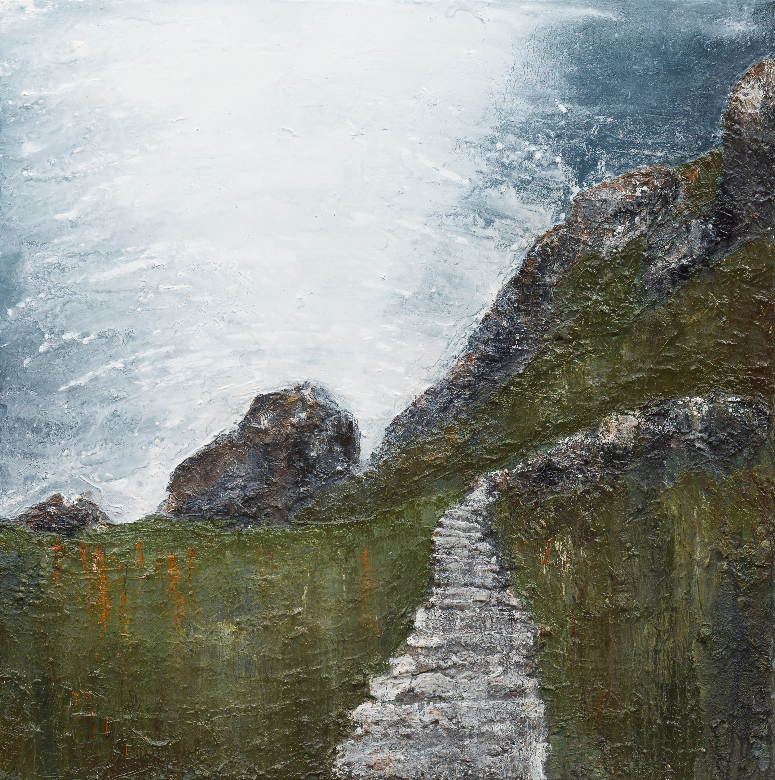 In your footsteps Oil and mixed media on canvas 70x70cm