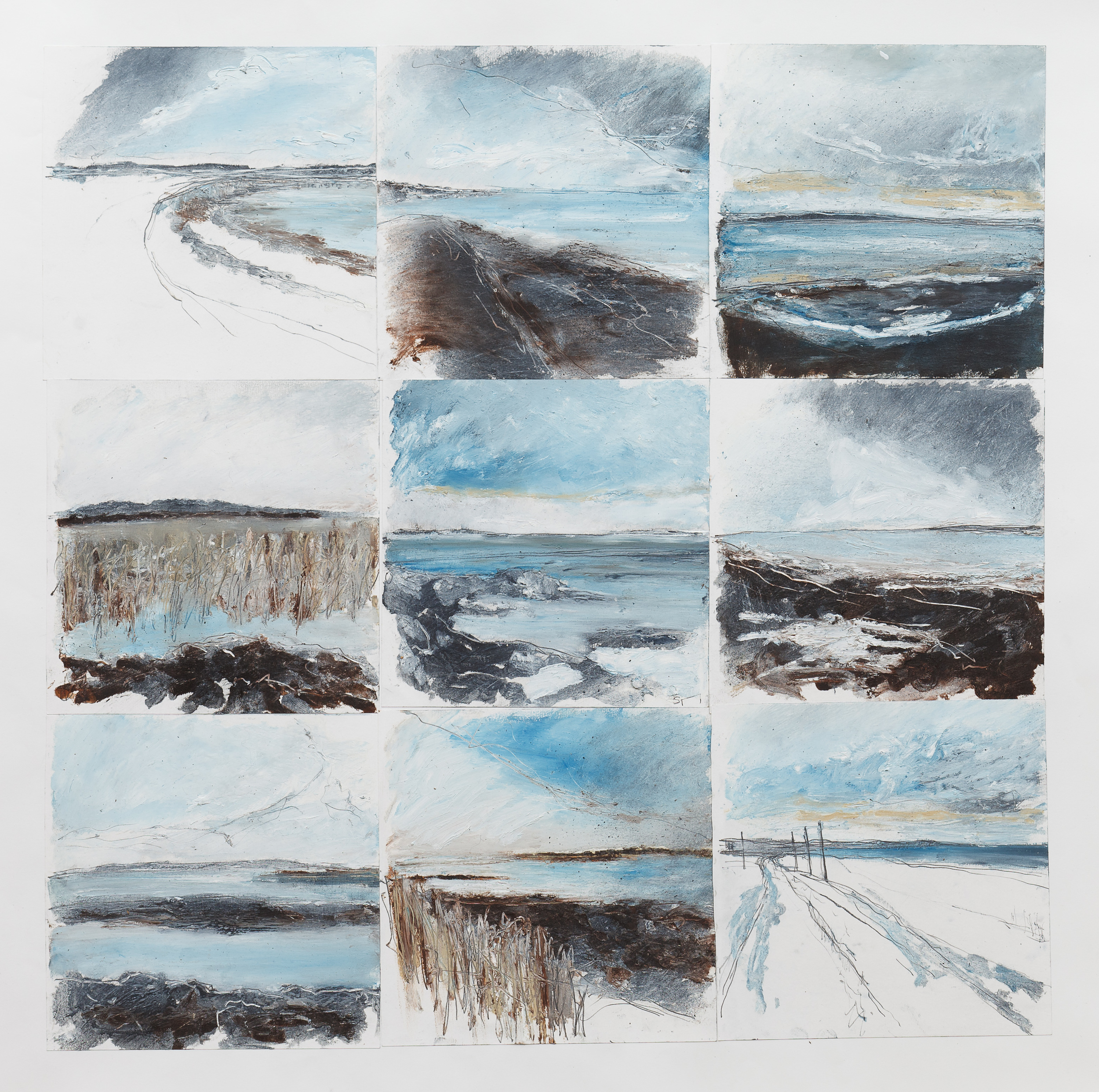 Lindisfarne Drawing montage Mixed media on paper 60x60cm