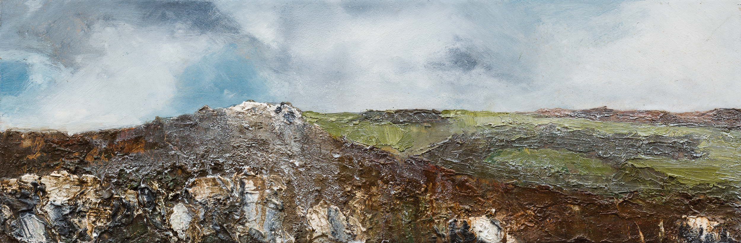 The wind Oil and mixed media on board 15x45cm