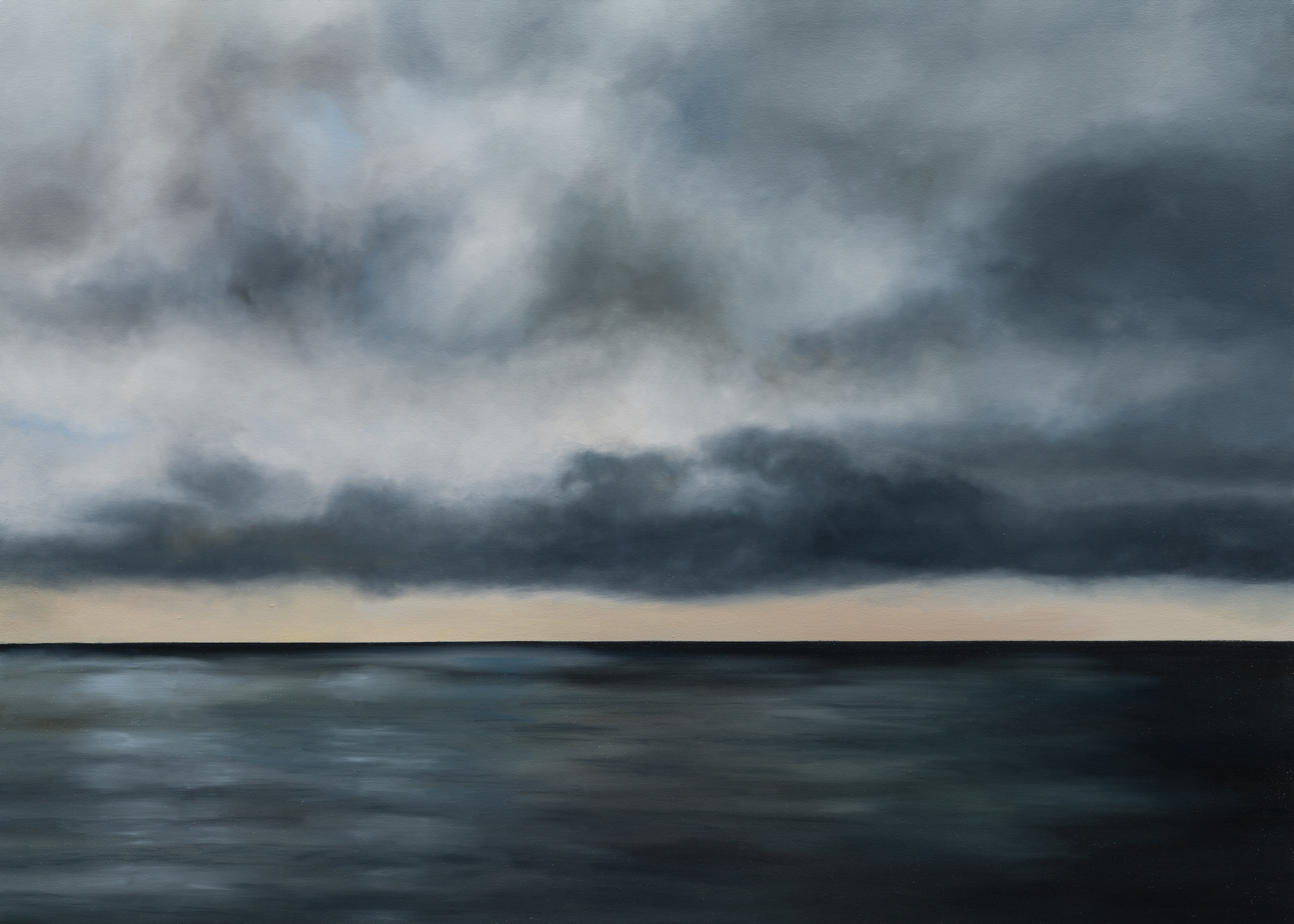 Sea watching; Grey waters, vast as an area of prayer (quote: R.S.Thomas) 100cm x120cm from The Long Silences, part of a private collection in Germany.