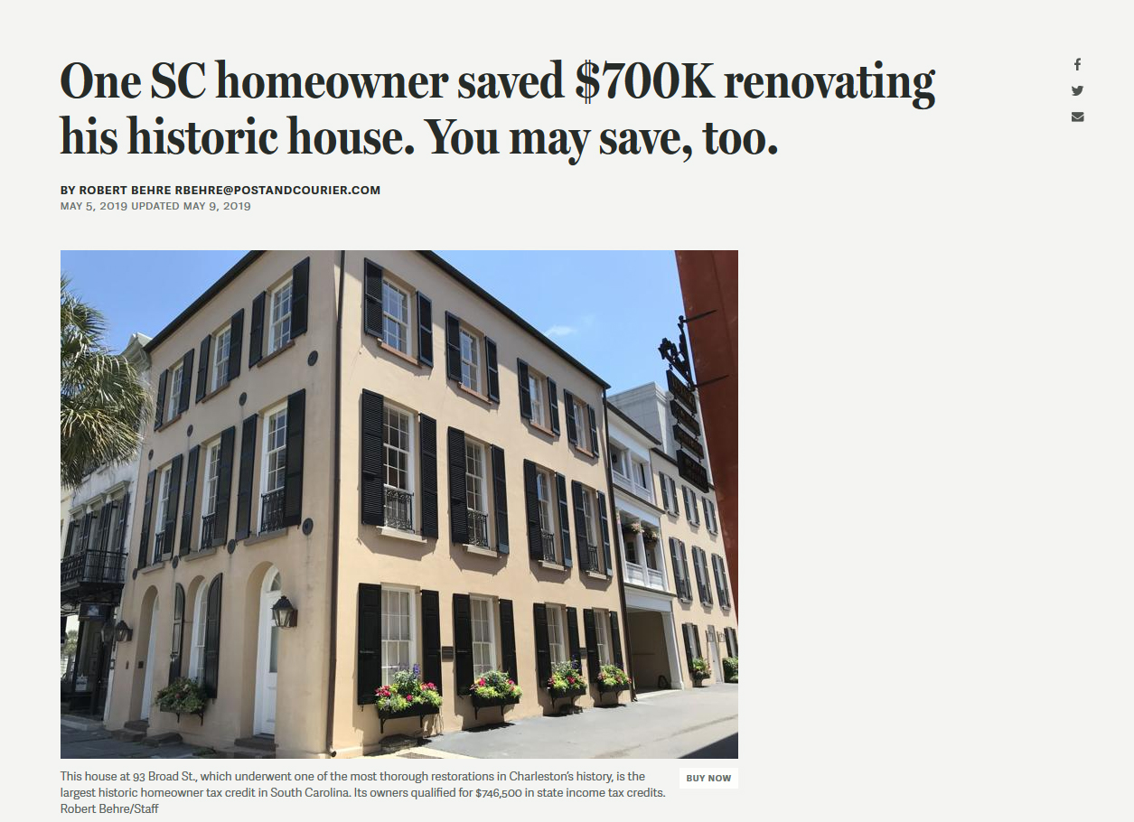 May 5, 2019 Article on Tax Credits for Historic Structures. Click on the photo to read the article.