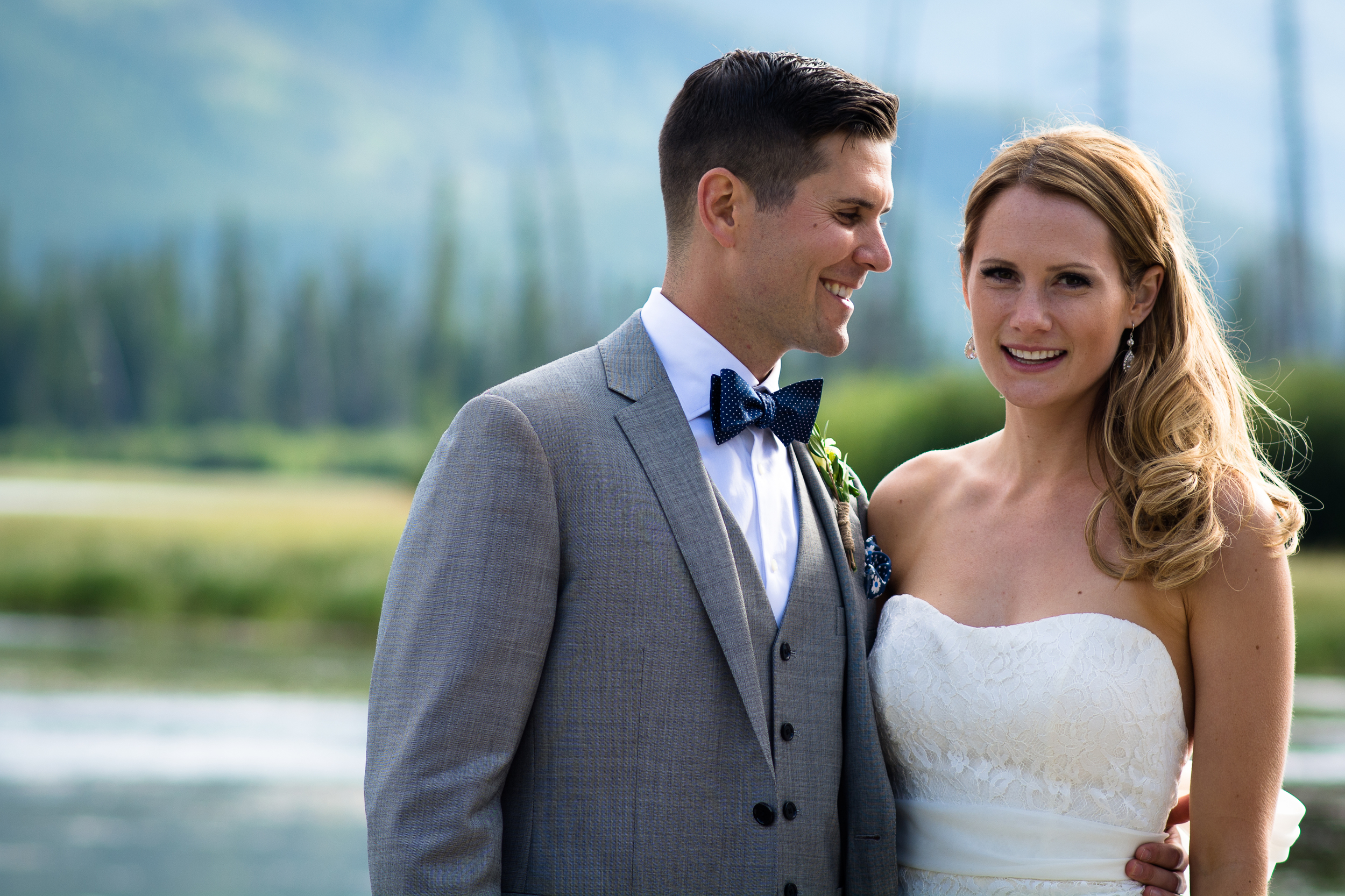 Married Wedding bride and groom by Vermilion Lakes Banff Alberta