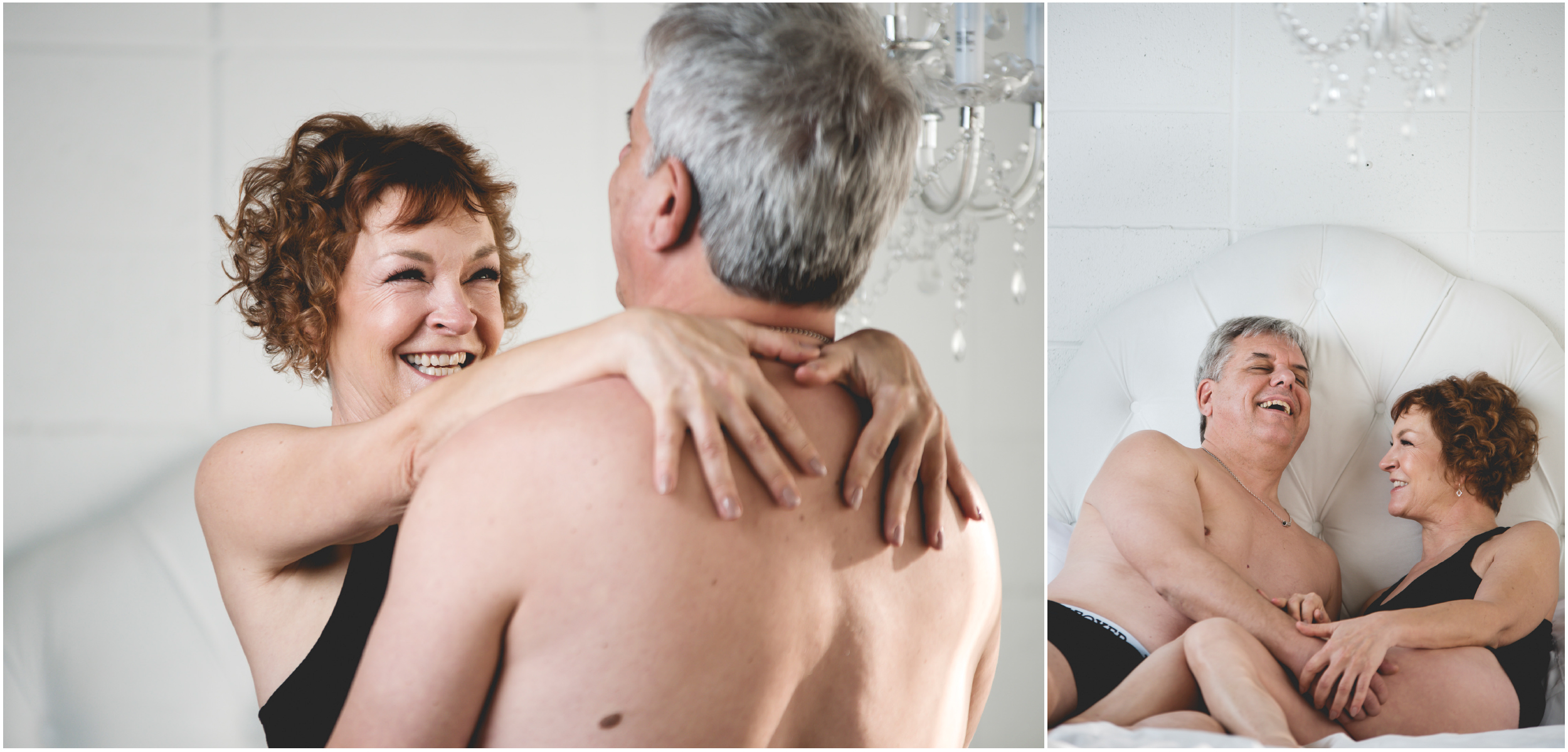 Boudoir photo of couple laughing in bedroom