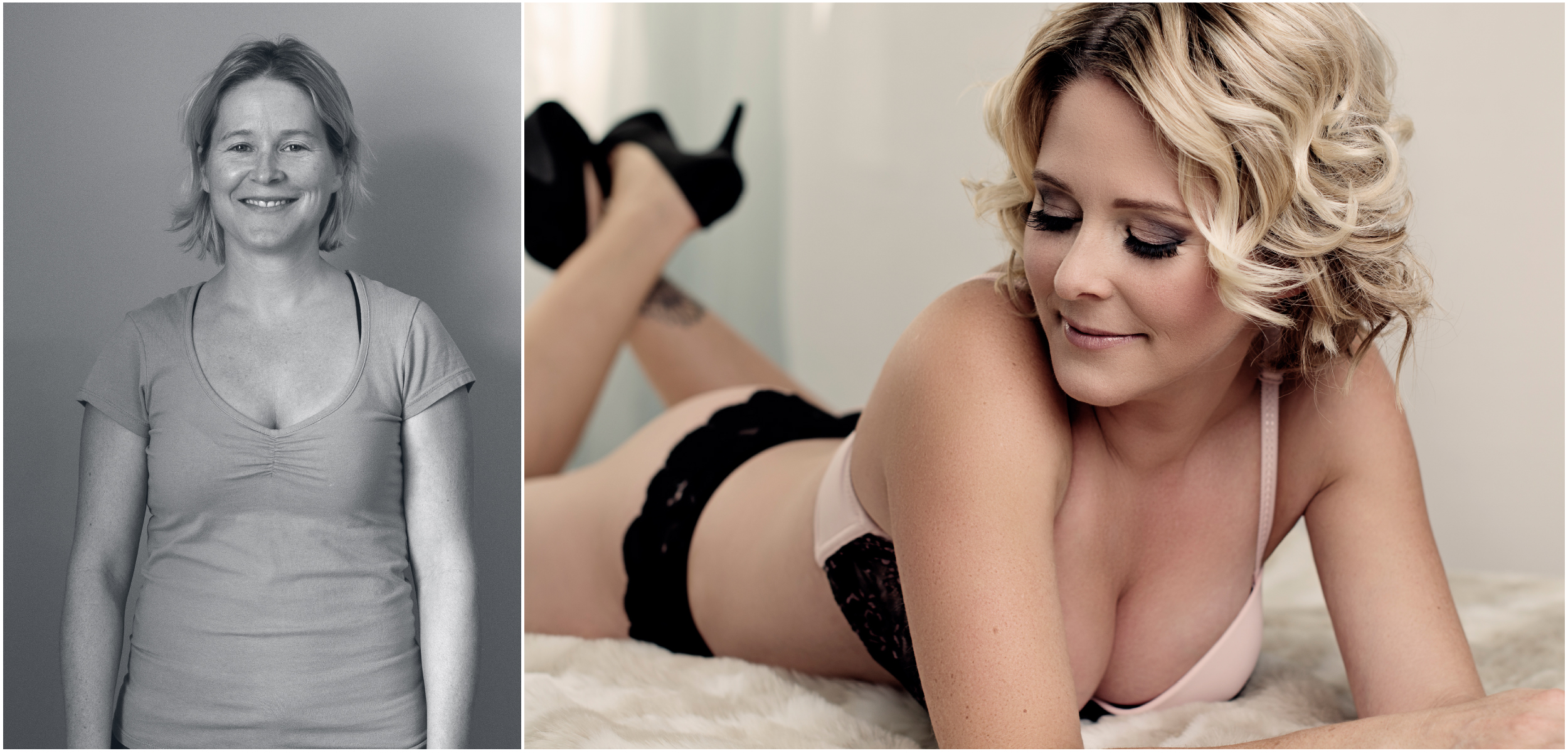 Boudoir before and after of Karla