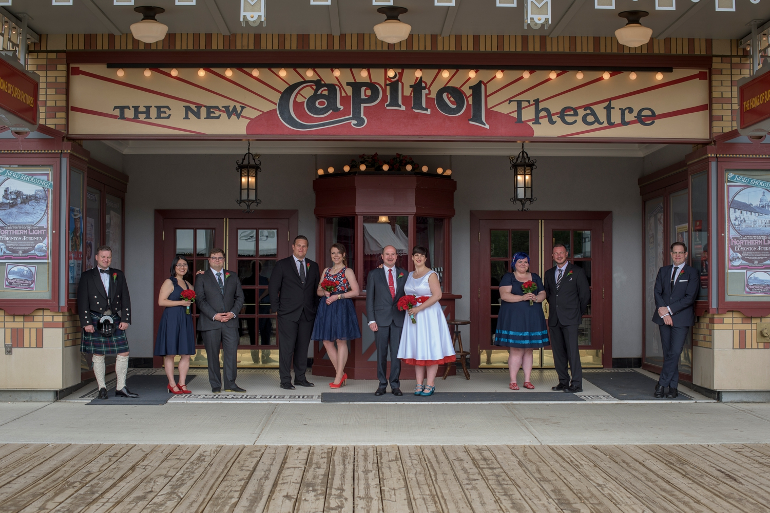 Wedding party in front of the Capital Theatre in Fort Edmonton Park