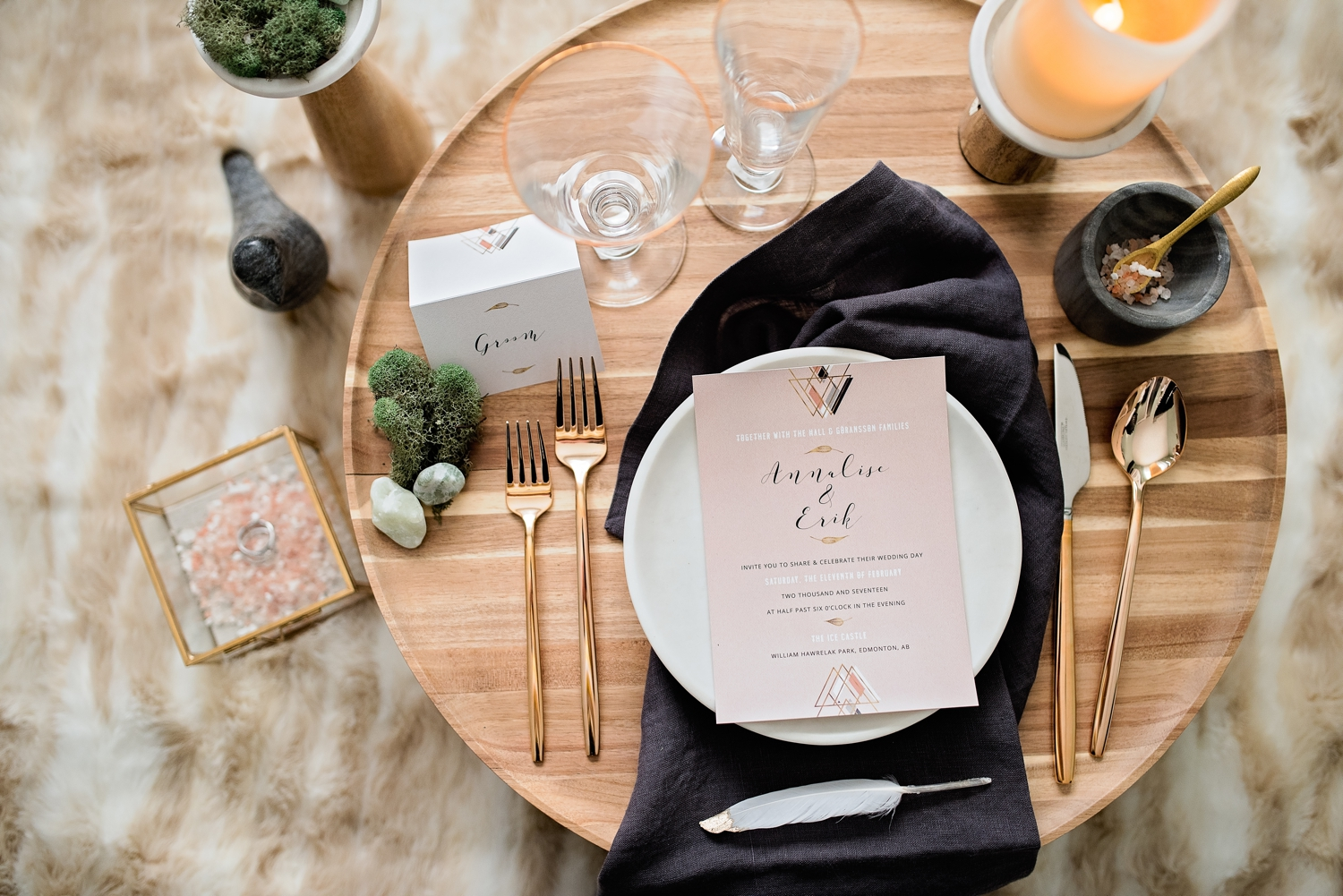 Nordic table setting for wedding reception