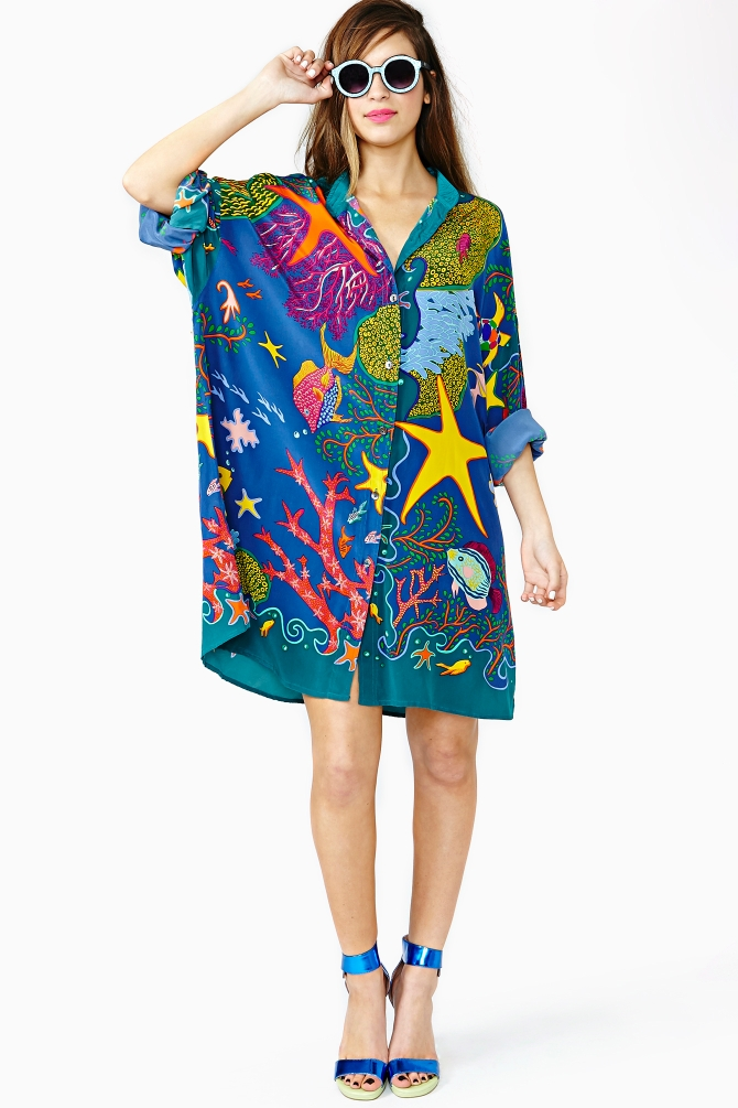 Just saw this Nasty Gal dress and want to add sea creature motif to the shirt dress collection. (image via lyst.com)