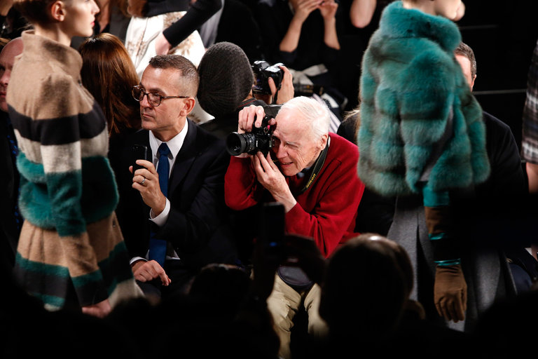Bill Cunningham at the Carolina Herrera Fall 2013 fashion show in New York.   CreditCindy Ord/Getty Images for Mercedes-Benz Fashion Week