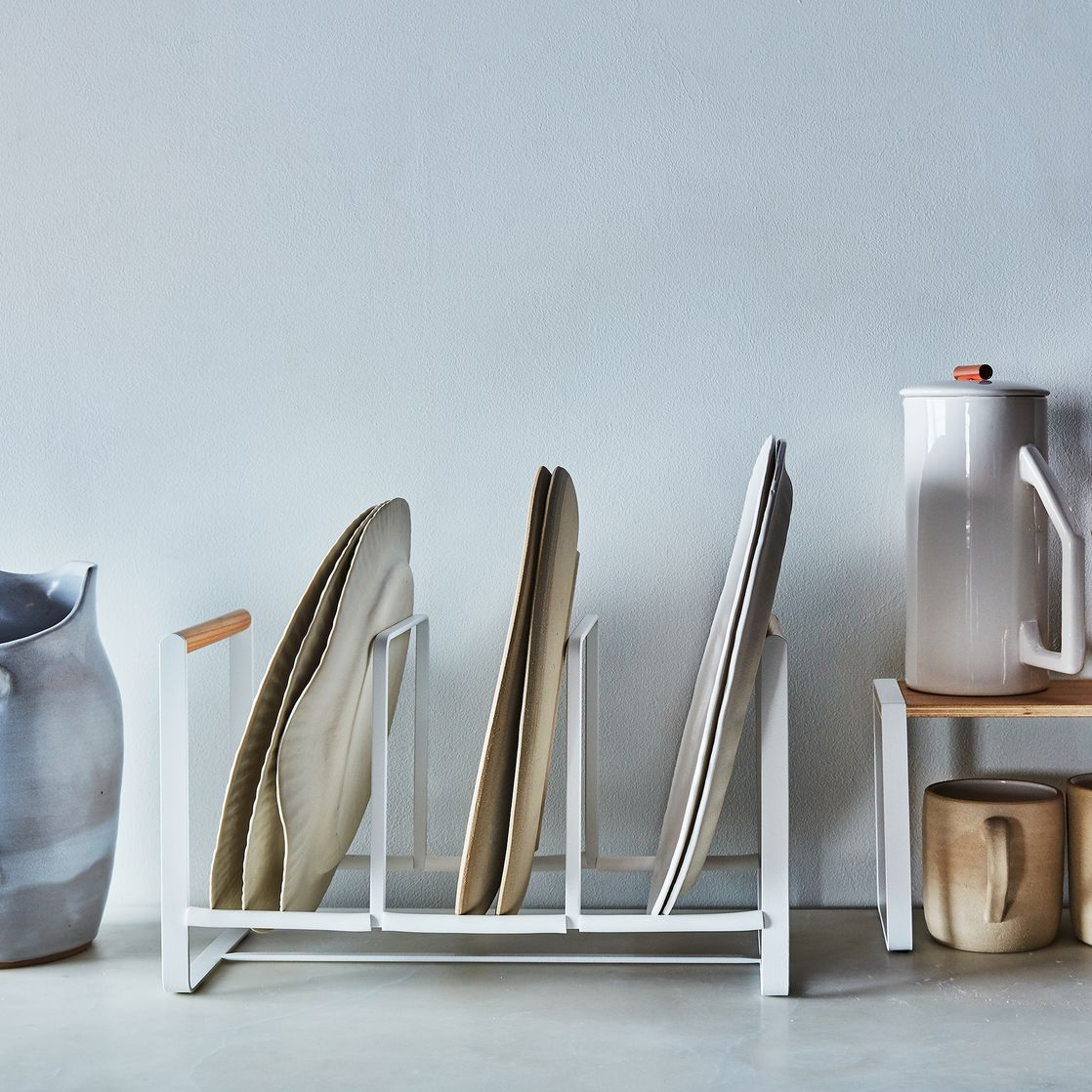 Steel & Wood Dish Organizer (via  Food52 )