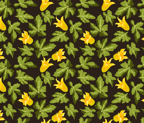I love the look of squash blossoms (and eating fried ones!). (image via  spoonflower )