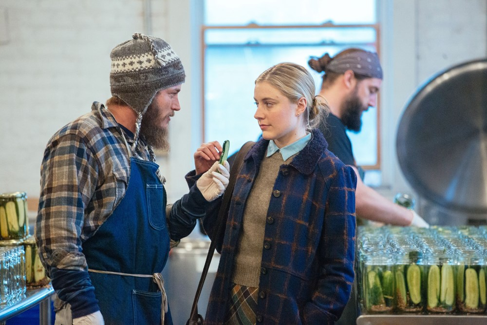 Travis Fimmel and Greta Gerwig and the pickles. (photo by Jon Pack)