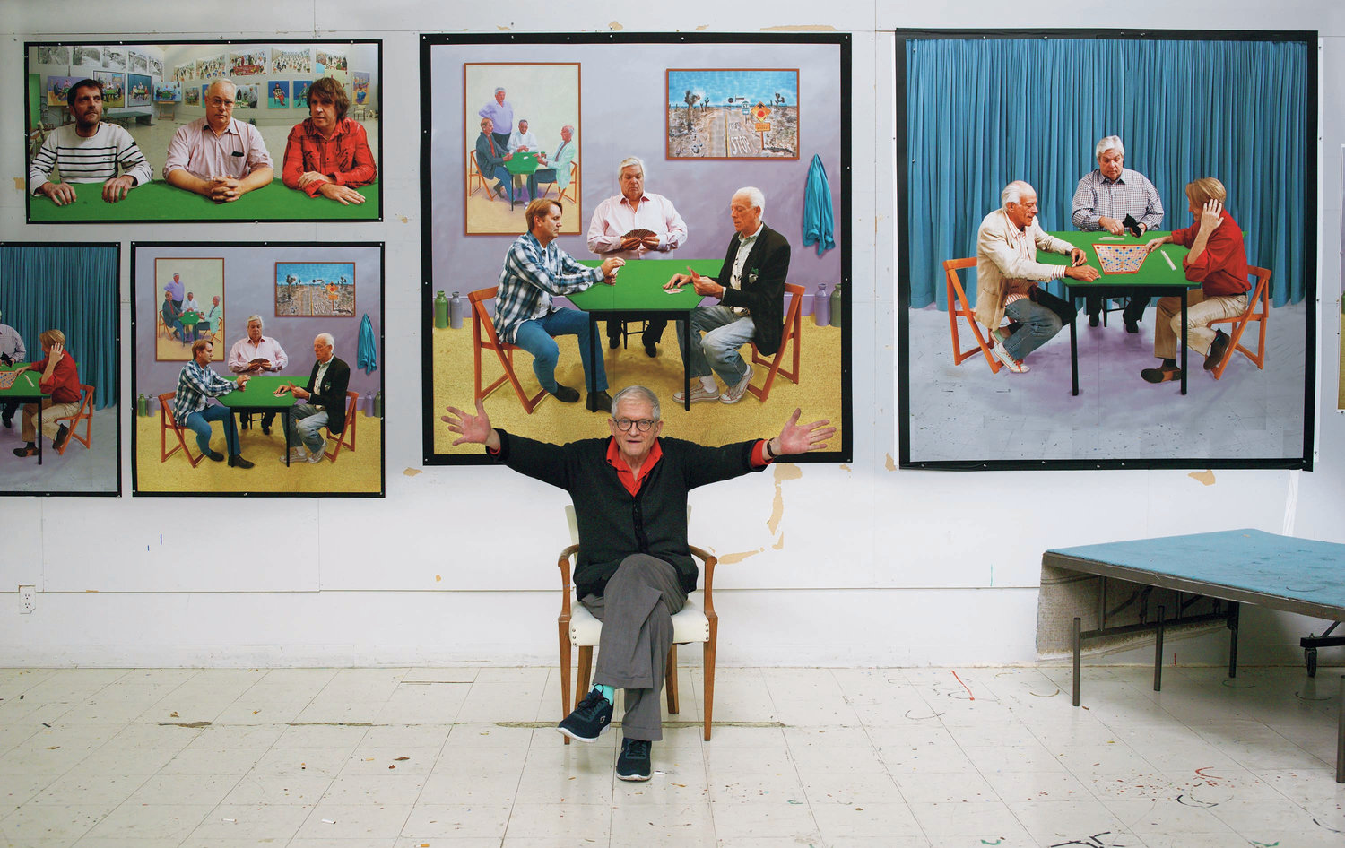 """In a recent series of photographic drawings, David Hockney, shown above in his studio, plays with the relationship between painting and photography."" (image via Richard Schmidt/David Hockney/Abrams Books)"