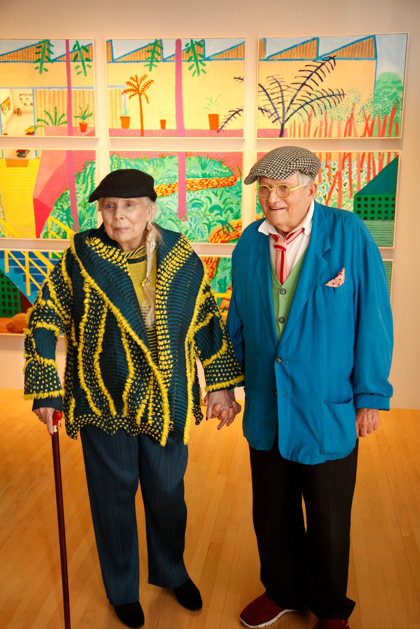 Joni Mitchell and David Hockney at L.A. Louver gallery in Los Angeles. (image by Jacob Sousa via nytimes)