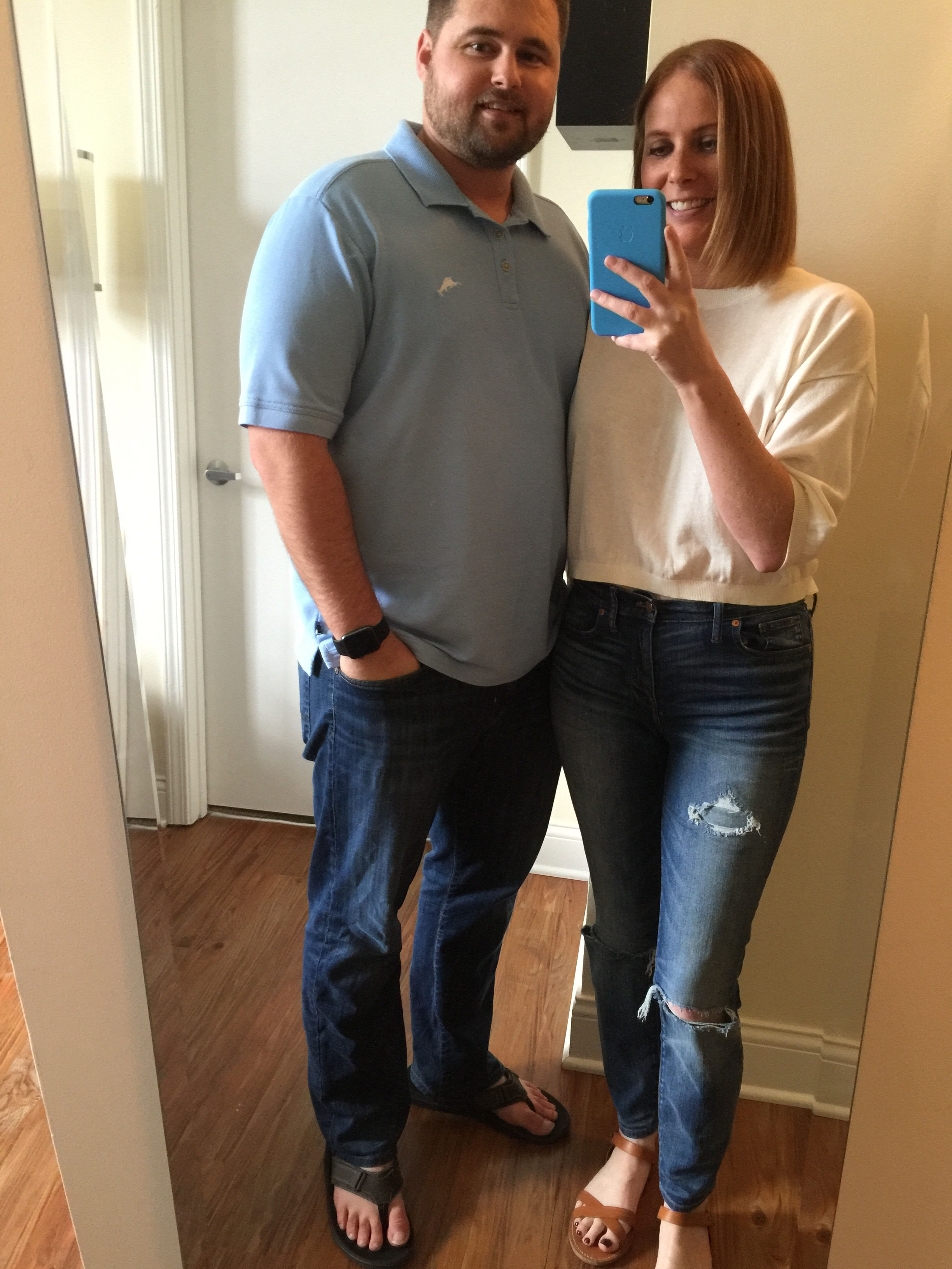 Todd: Shirt: Tommy Bahama, The Emfielder Polo  , Jeans: Nordstrom,  New Hero' Relaxed Fit Jeans , Sandals: Clarks Men's Stoli Sandal in Olive Jenn: Shirt, Gap: Crop sweater top ,Jeans: Madewell, High Riser Skinny , Sandals, Madewell