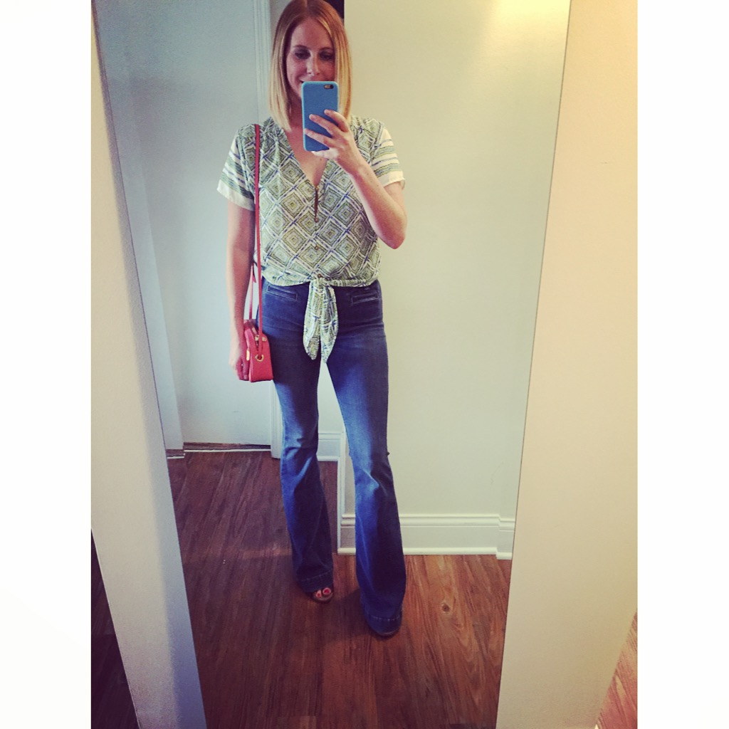 Top: Francesca's,, Jeans: Urban Outfitters, Dittos, Flare-High Rise,Bag: Marc Jacobs,  'Sally' Leather Crossbody Bag